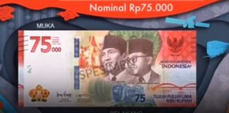 Uang baru 75 Rbuan